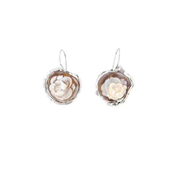 Orecchini pompeana in argento 925% con cammeo sardonica argento bianco-0