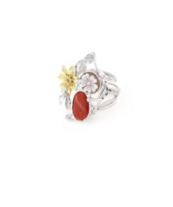Anello regolabile in argento 925% con corallo naturale e cammeo sardonica-0