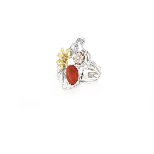 Anello regolabile in argento 925% con corallo e cammeo sardonica-0