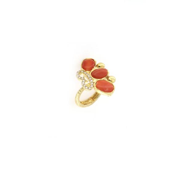 Anello regolabile in argento 925% con corallo naturale e zirconi-0