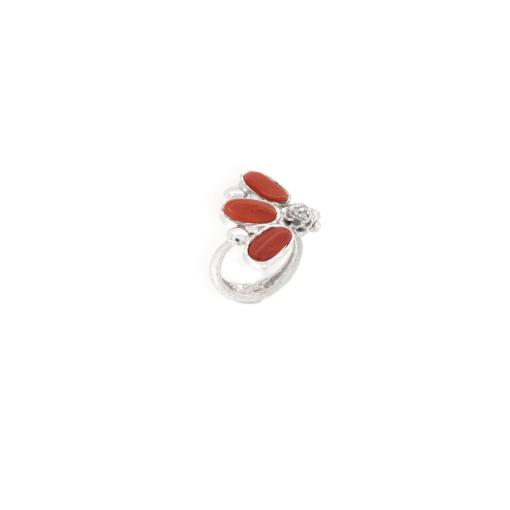Anello regolabile in argento 925% corallo naturale-0