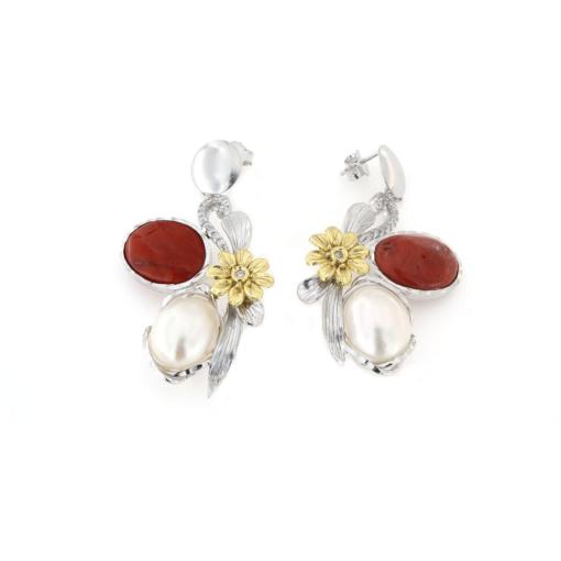 Orecchini a pressione in argento 925% con corallo naturale e perla biwa argento bianco-0