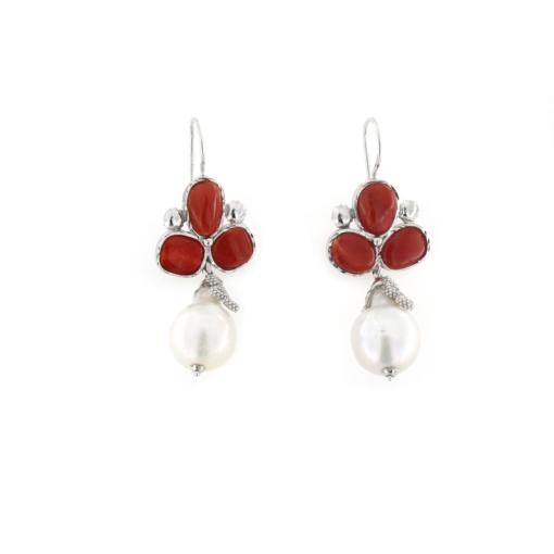 Orecchini pompeana in argento 925% con perle barocche e corallo-0