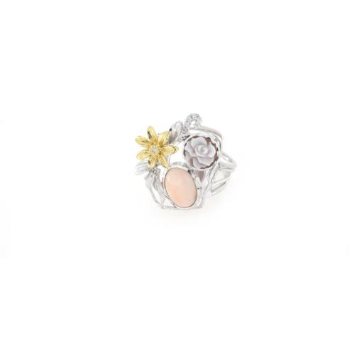 Anello regolabile in argento 925% con corallo rosa e cammeo sardonica -0