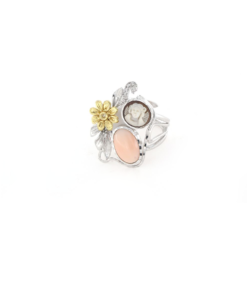 Anello regolabile in argento 925% con corallo rosa e cammeo sardonica-0