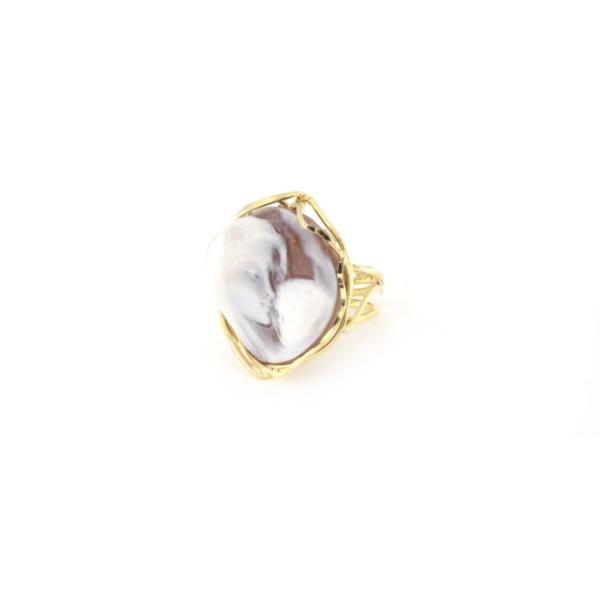 Anello regolabile in argento 925% con cammeo sardonica famiglia argento dorato-0