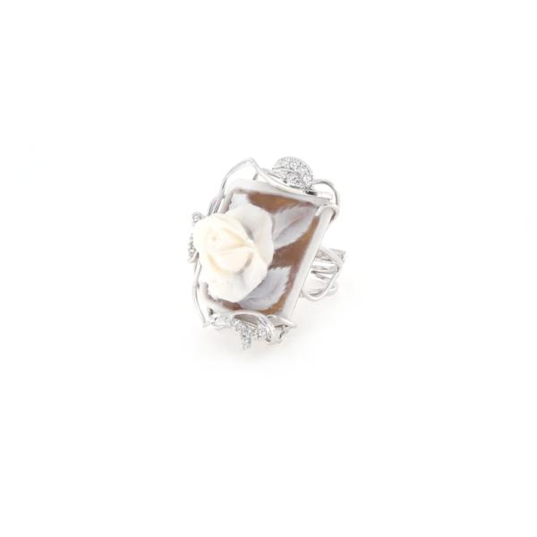 Anello regolabile in argento 925% con cammeo sardonica argento bianco-0