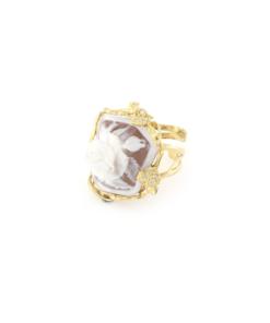 Anello regolabile in argento 925% con cammeo sardonica e zirconi argento dorato-0