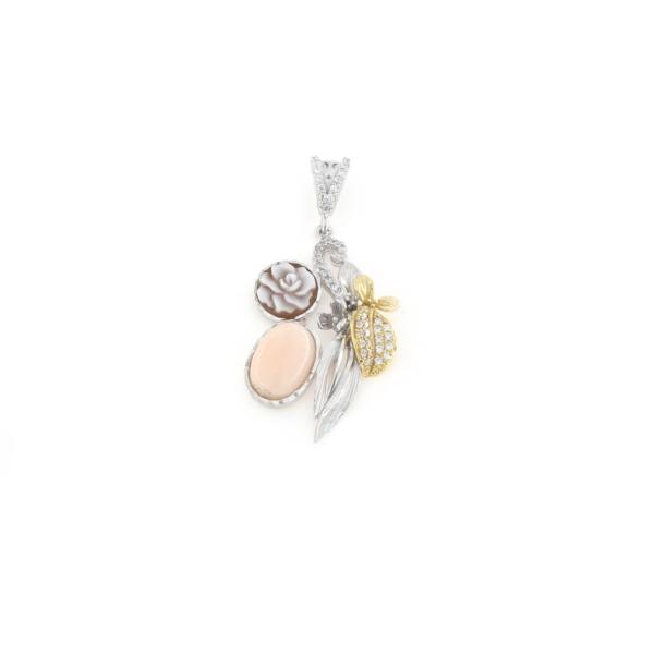 Ciondolo in argento 925% con corallo rosa zirconi e cammeo sardonica argento bianco-0