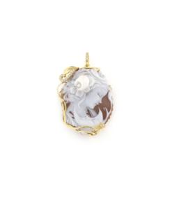 Ciondolo in argento 925% con gancio zirconato e cammeo sardonica argento dorato-0