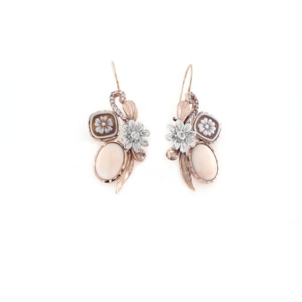Orecchini pompeana in argento 925% con corallo rosa e cammeo sardonica argento rosè-0