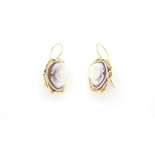 Orecchini pompeana in argento 925% con cammeo sardonica argento dorato -0