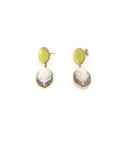 Orecchini a pressione in argento 925% con pietra di citrino e cammeo sardonica argento dorato-0