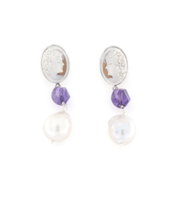 Orecchini a pressione in argento 925 con cammeo sardonica ametista e perla barocca-0
