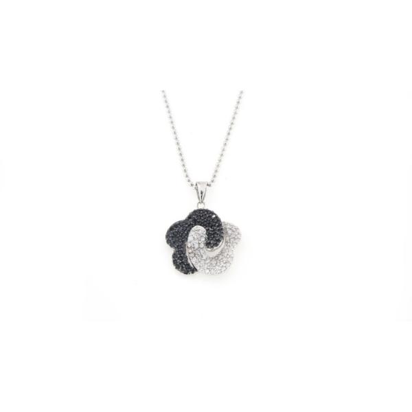 Ciondolo in argento 925 fiore bicolore-0