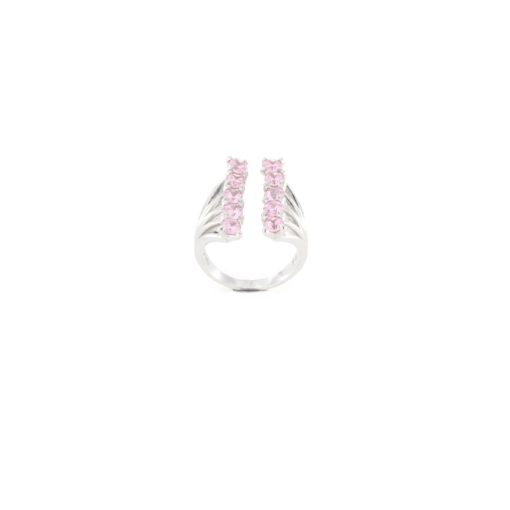 Anello regolabile in argento 925 doppia fila zirconi rosa-0