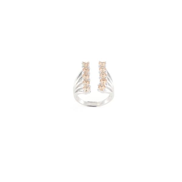 Anello regolabile in argento 925 doppia fila zirconi champagne-0