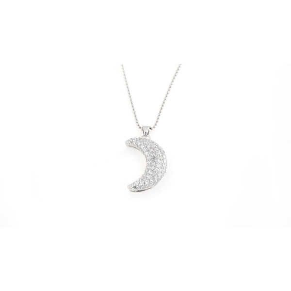 Ciondolo in argento 925 luna zirconata bianca-0