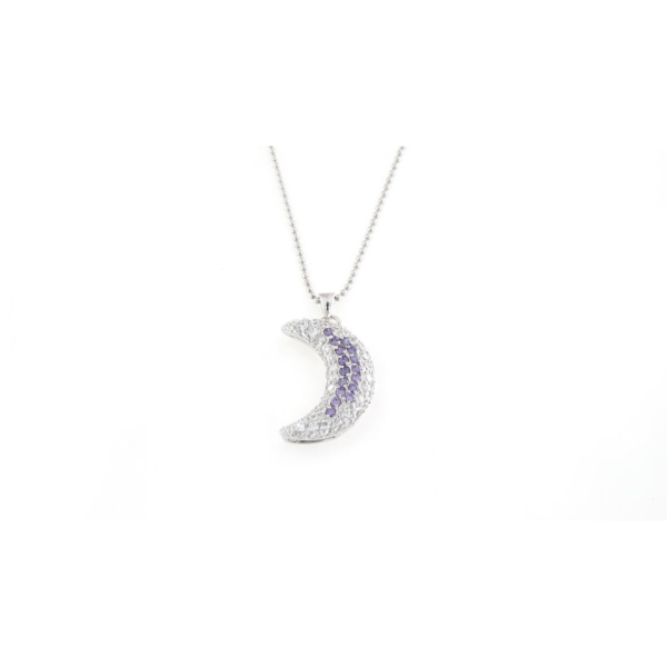 Ciondolo in argento 925 luna zirconata bicolore -0
