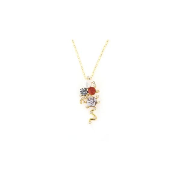 Ciondolo pendente in argento 925 perla corallo e cammeo -0