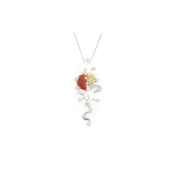 Ciondolo pendente in argento 925 doppia perla e corallo naturale-0