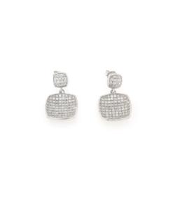 Orecchini in argento 925 doppio quadrato zirconato-0