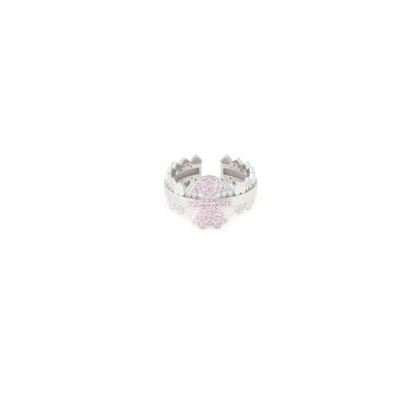 Anello regolabile in argento 925 bimba rosa-0