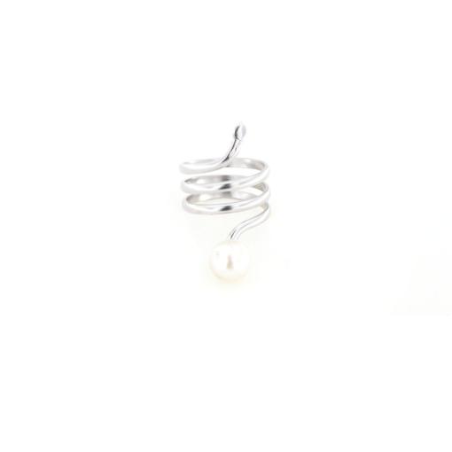 Anello in argento 925 serpente e perla d' acqua dolce-0