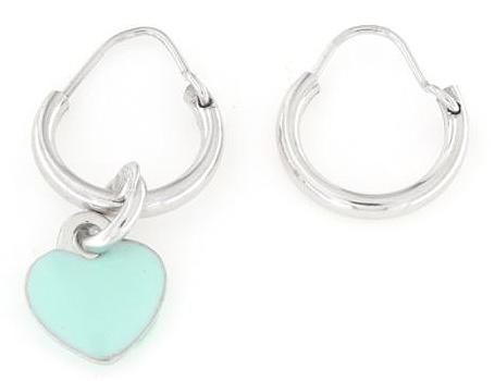 Orecchini cerchietto in argento 925 con cuore verde-0