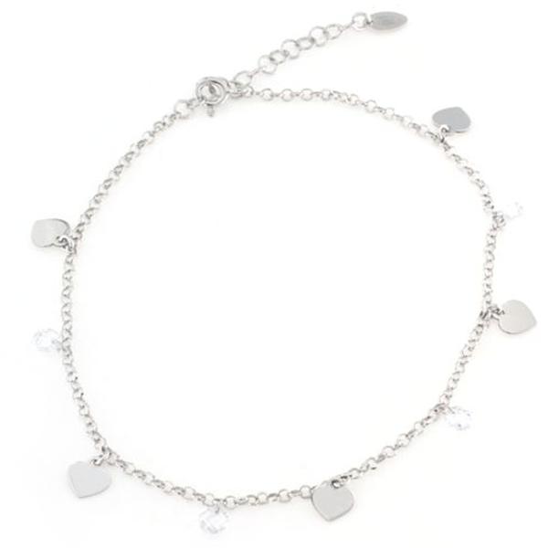 Cavigliera in argento 925 con pendenti cuori e zirconi-0
