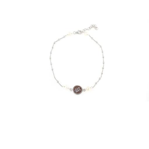 Cavigliera in argento 925 con cammeo e perline naturali -0