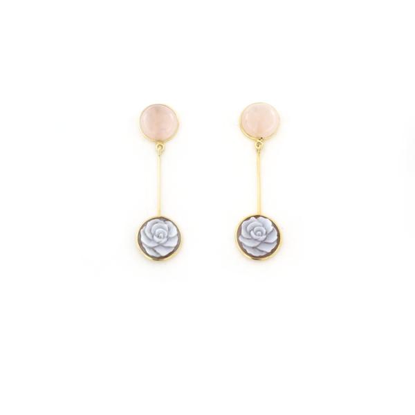 Orecchini pendenti in argento 925 con cammeo sardonica e quarzo rosa-0