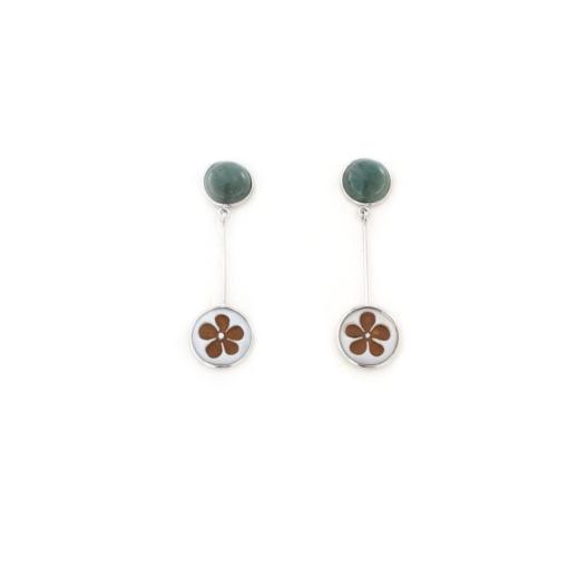 Orecchini pendenti in argento 925 con giada verde e cammeo sardonica -0