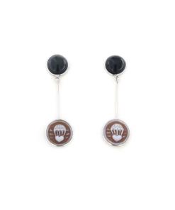 Orecchini pendenti in argento 925 con cammeo sardonica e onice nera-0