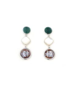 Orecchini pendenti in argento 925 con madreperla cammeo sardonica e giada verde-0