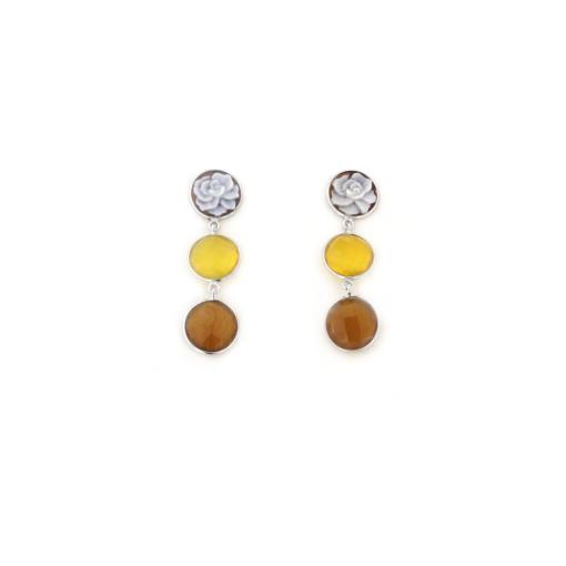 Orecchini pendenti in argento 925 con agata e cammeo sardonica-0