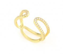 Anello regolabile in argento 925 con zirconi argento dorato-0