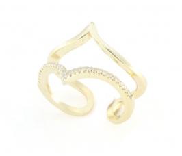 Anello regolabile in argento 925 con zirconi argento dorato -0