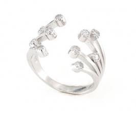 Anello regolabile in argento 925 con zirconi argento bianco-0