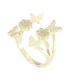 Anello regolabile in argento 925 con zirconi fiori e farfalle argento dorato -0