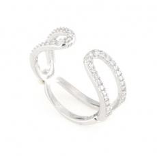 Anello regolabile in argento 925 e zirconi -0