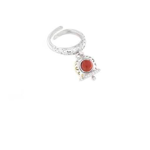 Anello regolabile traforato in argento 925 con campanella con corallo naturale -0