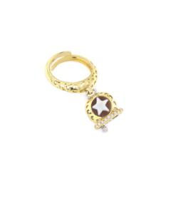 Anello regolabile traforato in argento 925 con campanella bicolore e cammeo sardonica-0