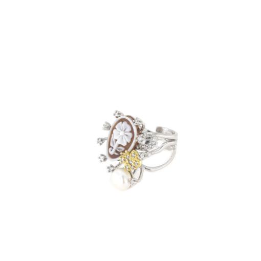 Anello regolabile in argento 925 con cammeo sardonica zirconi e perle-0