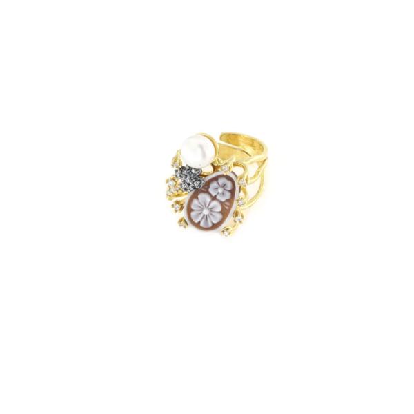 Anello regolabile in argento 925 con cammeo sardonica zirconi e perle -0