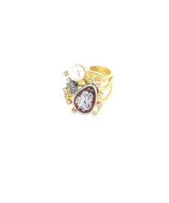 Anello regolabile in argento 925 cammeo sardonica zirconi e perle-0