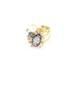 Anello regolabile in argento 925 cammeo sardonica zirconi e perla-0