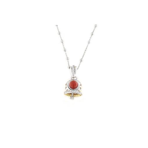 Ciondolo in argento 925 campanella traforata bicolore e corallo naturale-0