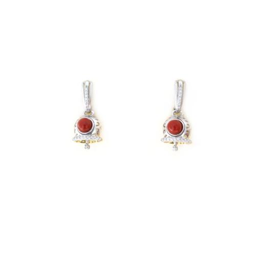 Orecchini a pressione in argento 925 con campanella bicolore e corallo e zirconi -0