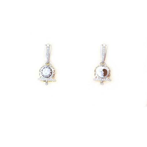 Orecchini a pressione in argento 925 con campanella bicolore traforata e cammeo sardonica-0
